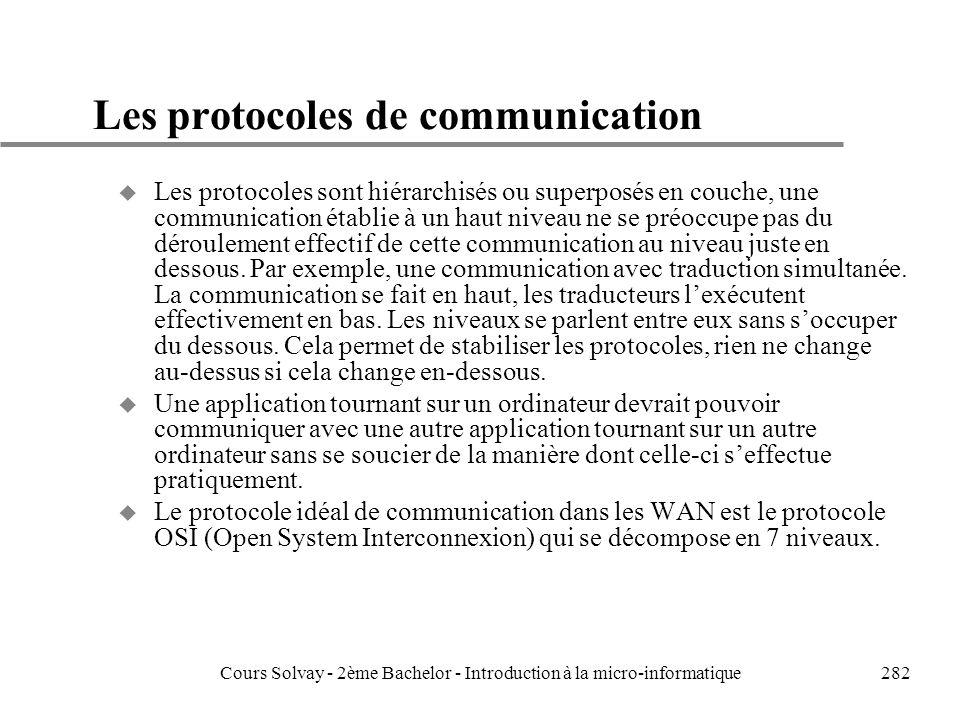 282 Les protocoles de communication u Les protocoles sont hiérarchisés ou superposés en couche, une communication établie à un haut niveau ne se préoccupe pas du déroulement effectif de cette communication au niveau juste en dessous.
