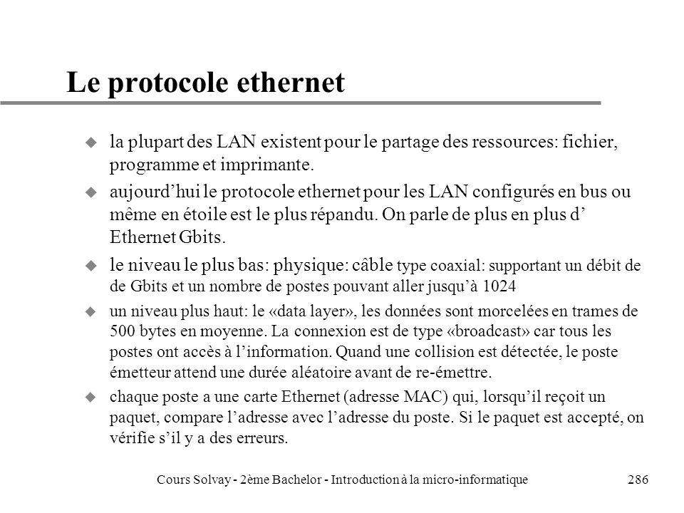 286 Le protocole ethernet u la plupart des LAN existent pour le partage des ressources: fichier, programme et imprimante.