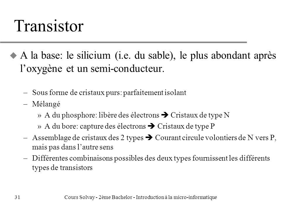 Transistor u A la base: le silicium (i.e.