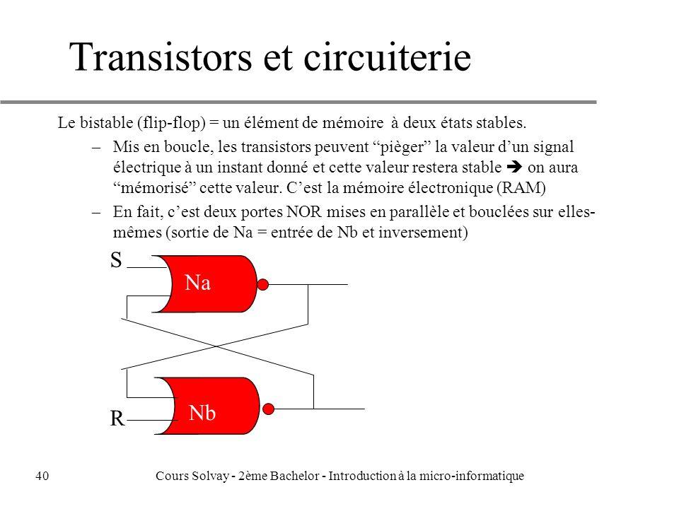 Transistors et circuiterie Le bistable (flip-flop) = un élément de mémoire à deux états stables.