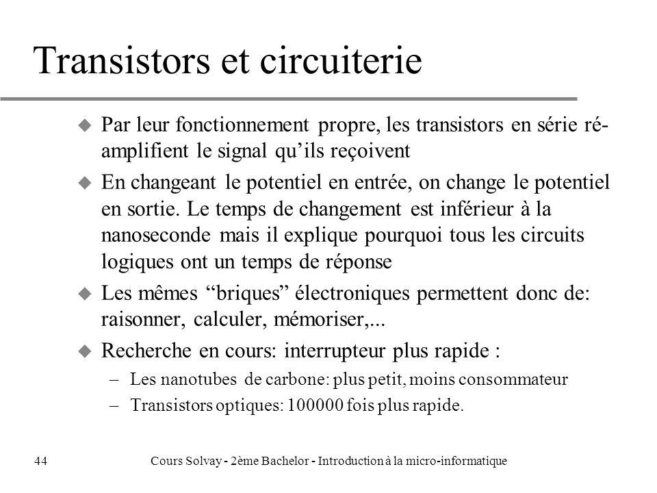 Transistors et circuiterie u Par leur fonctionnement propre, les transistors en série ré- amplifient le signal quils reçoivent u En changeant le potentiel en entrée, on change le potentiel en sortie.