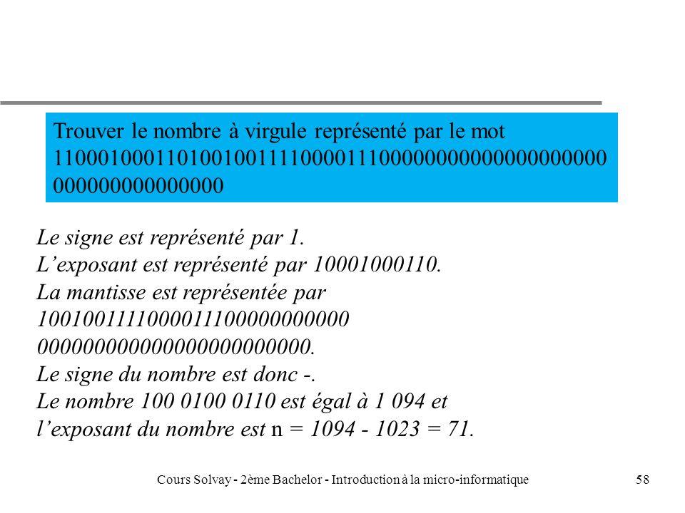 58 Trouver le nombre à virgule représenté par le mot 1100010001101001001111000011100000000000000000000 000000000000000 Le signe est représenté par 1.