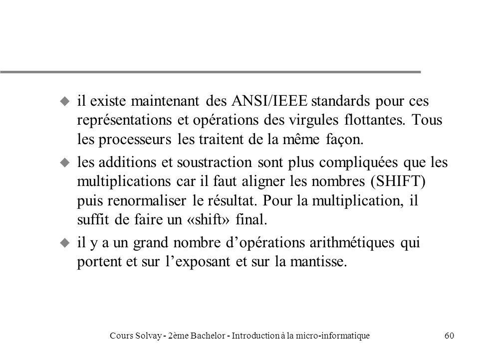 60 u il existe maintenant des ANSI/IEEE standards pour ces représentations et opérations des virgules flottantes.