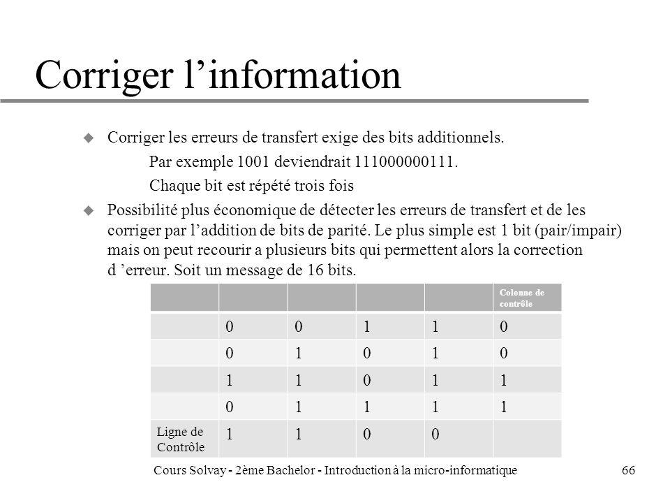 Corriger linformation u Corriger les erreurs de transfert exige des bits additionnels.
