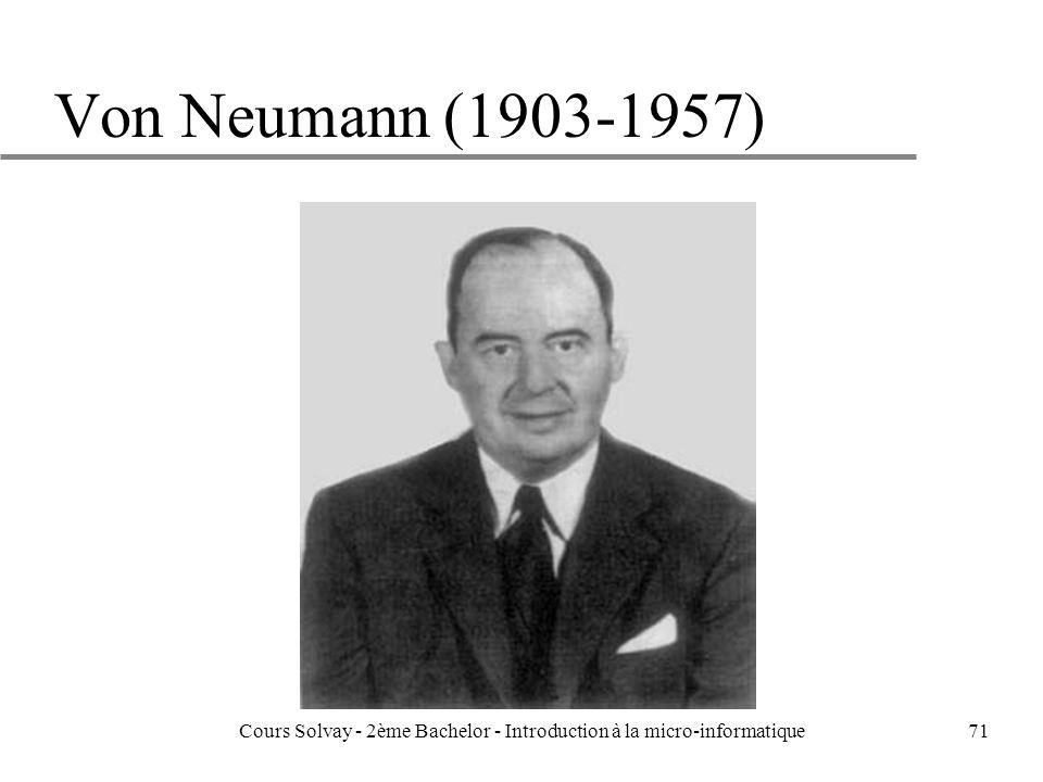 71 Von Neumann (1903-1957) Cours Solvay - 2ème Bachelor - Introduction à la micro-informatique