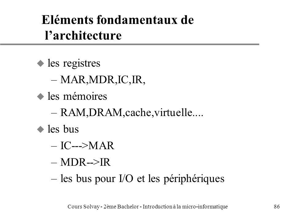 86 Eléments fondamentaux de larchitecture u les registres –MAR,MDR,IC,IR, u les mémoires –RAM,DRAM,cache,virtuelle....