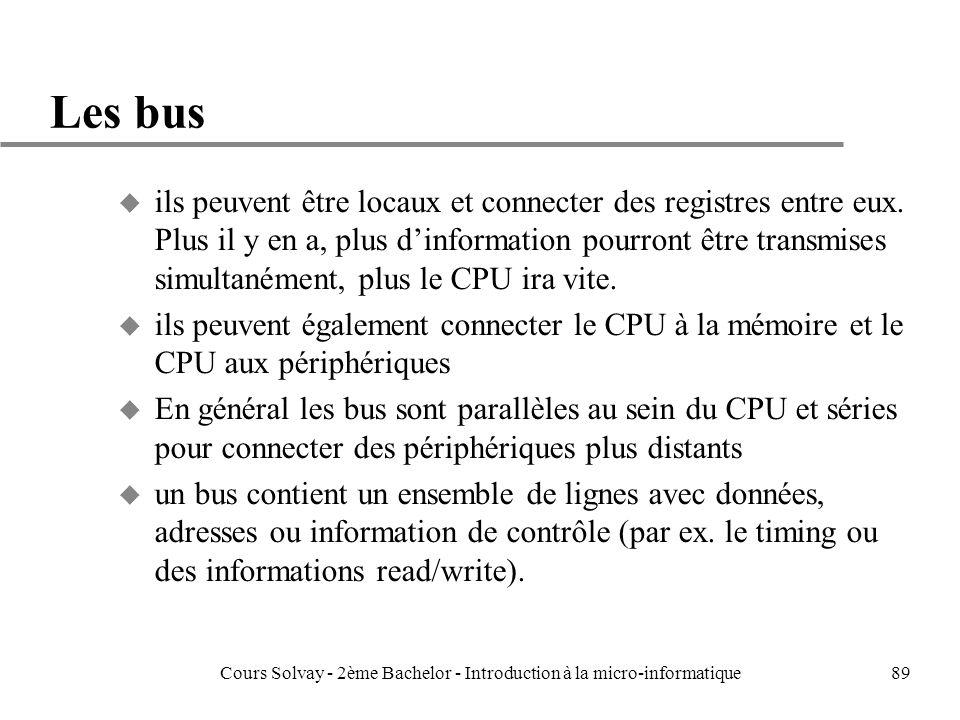 89 Les bus u ils peuvent être locaux et connecter des registres entre eux.