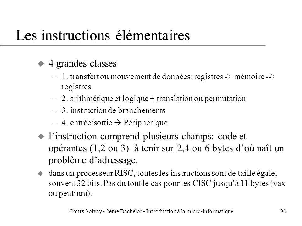 90 Les instructions élémentaires u 4 grandes classes –1.