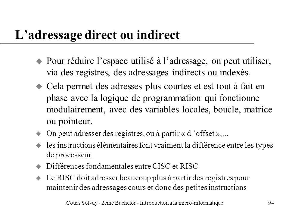 94 Ladressage direct ou indirect u Pour réduire lespace utilisé à ladressage, on peut utiliser, via des registres, des adressages indirects ou indexés.