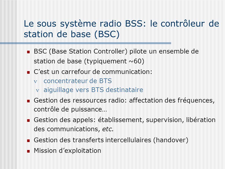 Le sous système radio BSS: le contrôleur de station de base (BSC) BSC (Base Station Controller) pilote un ensemble de station de base (typiquement ~60