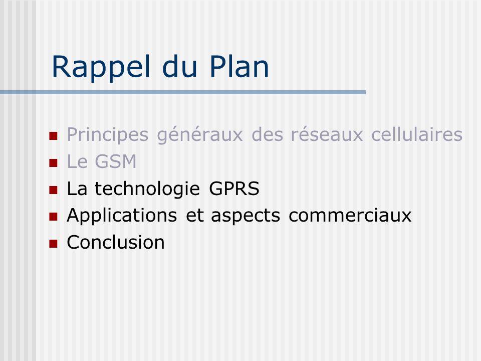 Rappel du Plan Principes généraux des réseaux cellulaires Le GSM La technologie GPRS Applications et aspects commerciaux Conclusion