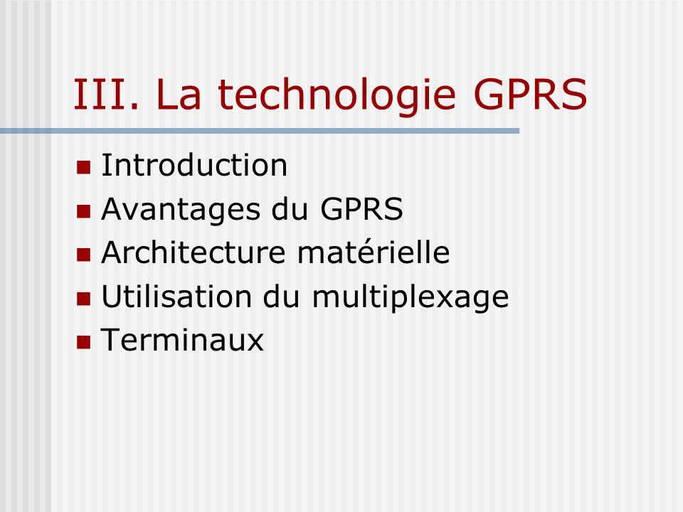 III. La technologie GPRS Introduction Avantages du GPRS Architecture matérielle Utilisation du multiplexage Terminaux