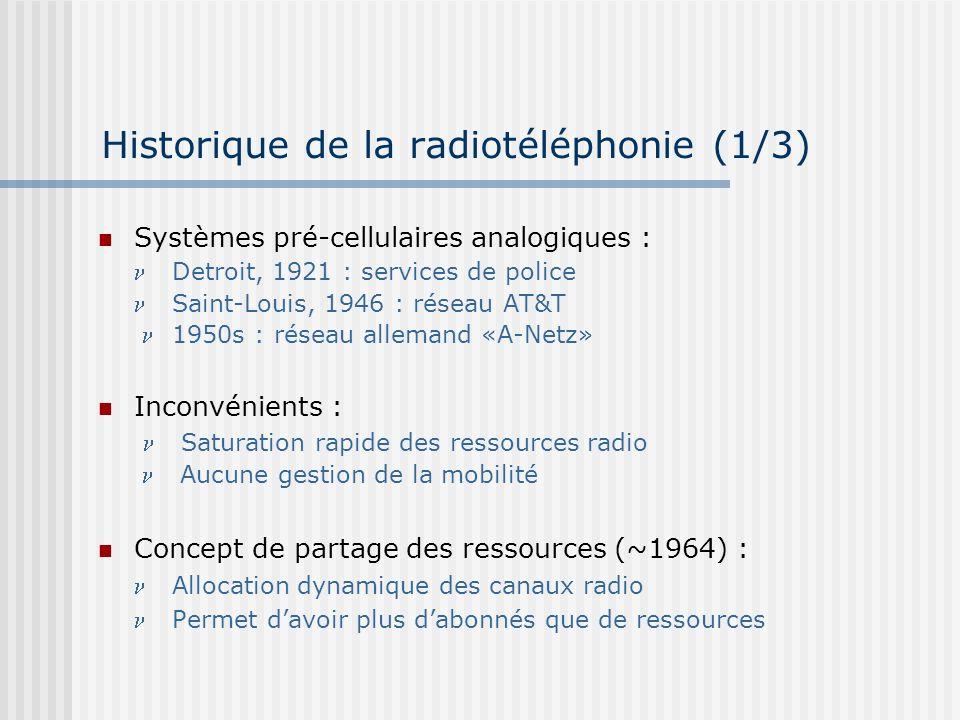 Historique de la radiotéléphonie (2/3) 1971 : Bell Telephone «présente» le concept cellulaire 1978 : AMPS (Advanced Mobile Phone Service) : premier système cellulaire «moderne» : Gestion des ressources radio Sélection de la meilleure fréquence Réalisation des transferts inter-cellulaires (handover) 1982 : lAMPS devient le standard unique en Amérique du Nord Systèmes de première génération