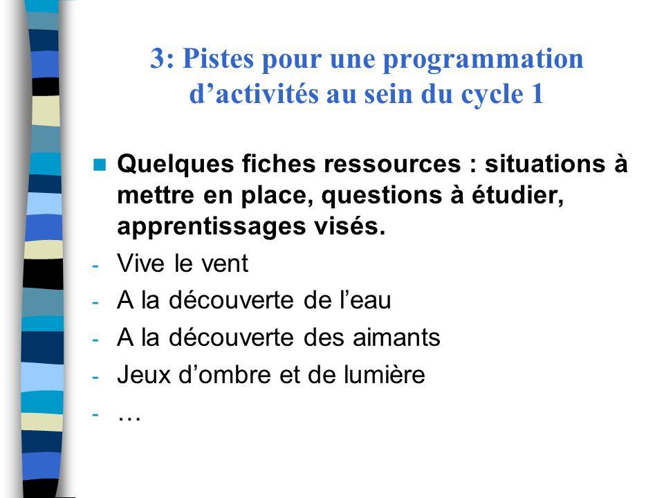3: Pistes pour une programmation dactivités au sein du cycle 1 Quelques fiches ressources : situations à mettre en place, questions à étudier, apprent