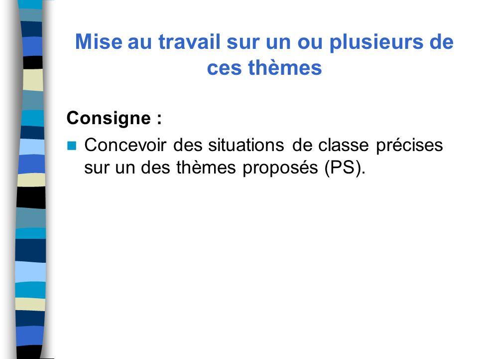 Mise au travail sur un ou plusieurs de ces thèmes Consigne : Concevoir des situations de classe précises sur un des thèmes proposés (PS).