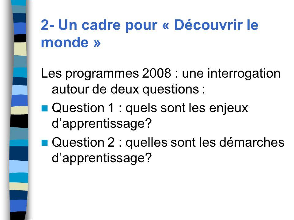 2- Un cadre pour « Découvrir le monde » Les programmes 2008 : une interrogation autour de deux questions : Question 1 : quels sont les enjeux dapprent