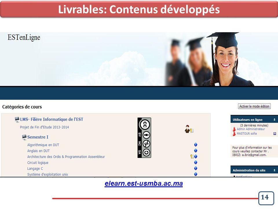 14 Contexte et Objets des Travaux Etat des livrables Livrables: Contenus développés elearn.est-usmba.ac.ma