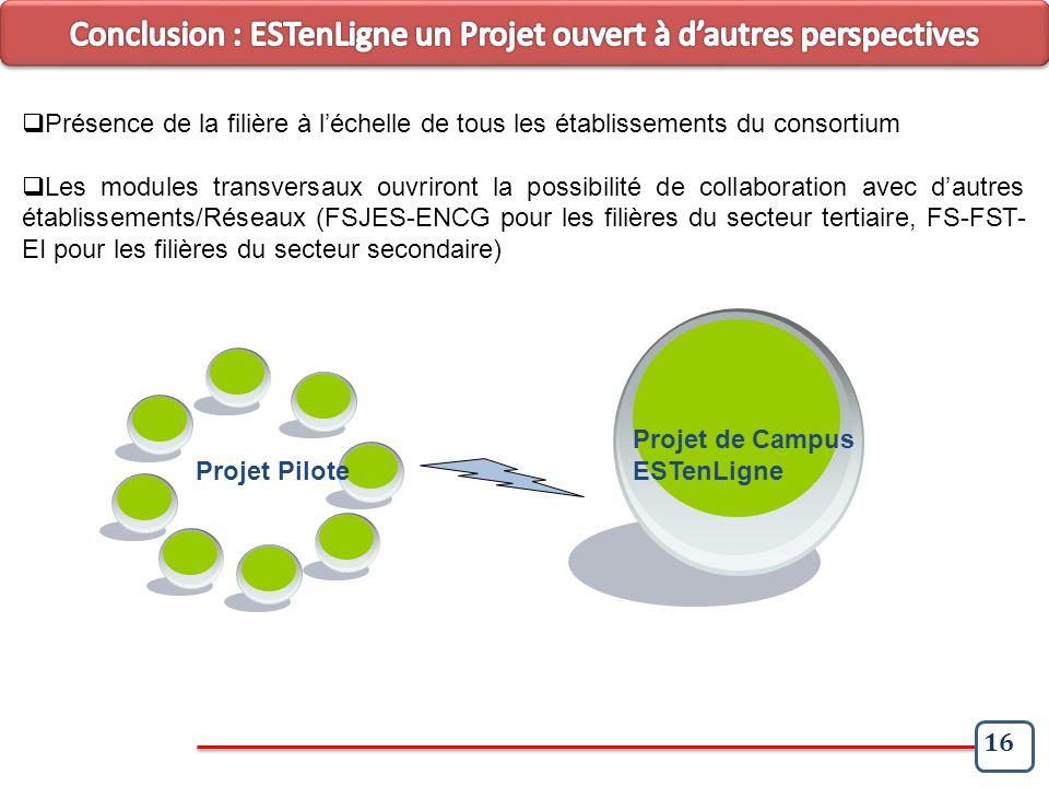 16 Projet Pilote Projet de Campus ESTenLigne Présence de la filière à léchelle de tous les établissements du consortium Les modules transversaux ouvri
