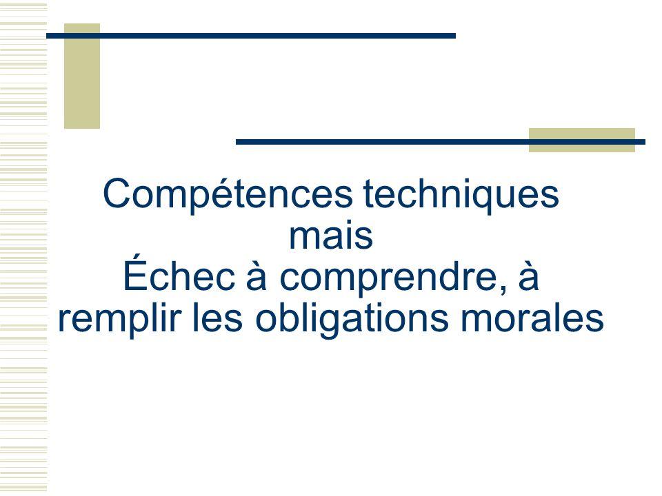 Compétences techniques mais Échec à comprendre, à remplir les obligations morales