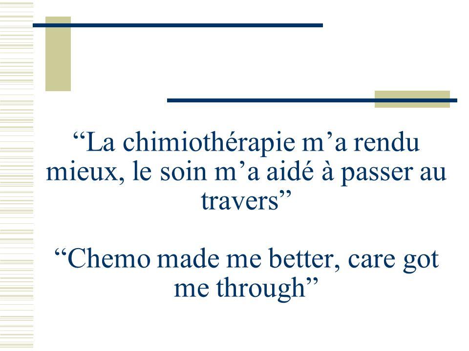 La chimiothérapie ma rendu mieux, le soin ma aidé à passer au travers Chemo made me better, care got me through