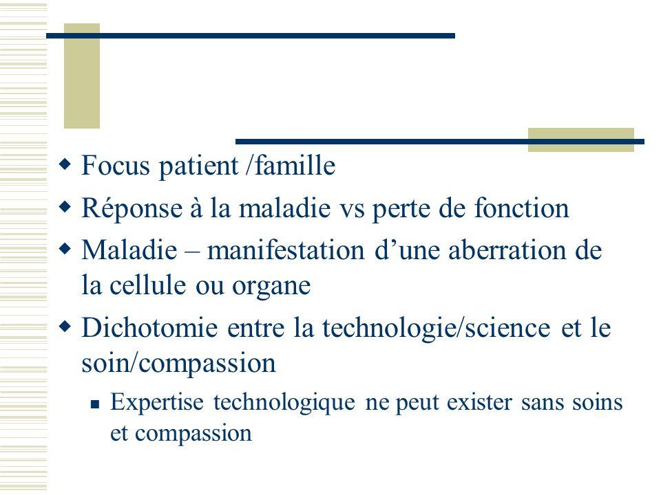 Focus patient /famille Réponse à la maladie vs perte de fonction Maladie – manifestation dune aberration de la cellule ou organe Dichotomie entre la t