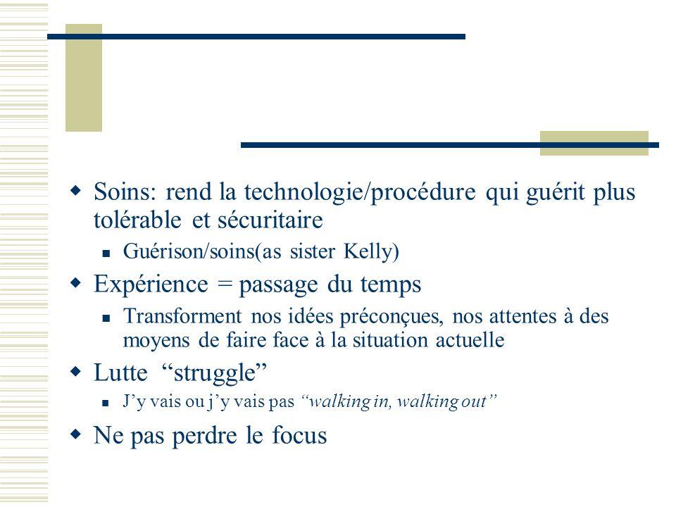 Soins: rend la technologie/procédure qui guérit plus tolérable et sécuritaire Guérison/soins(as sister Kelly) Expérience = passage du temps Transforme
