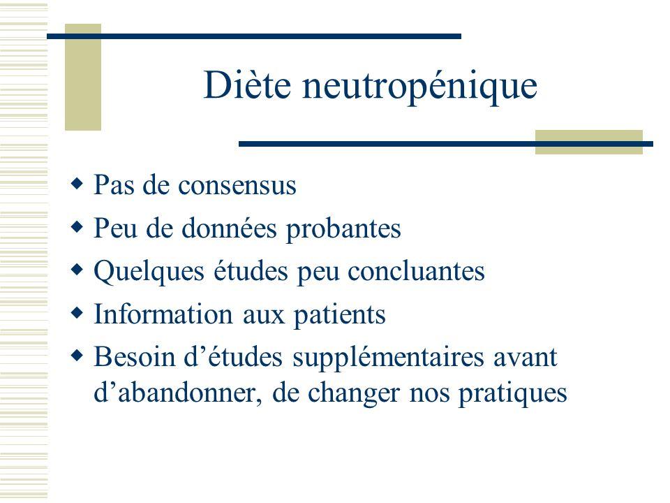 Diète neutropénique Pas de consensus Peu de données probantes Quelques études peu concluantes Information aux patients Besoin détudes supplémentaires