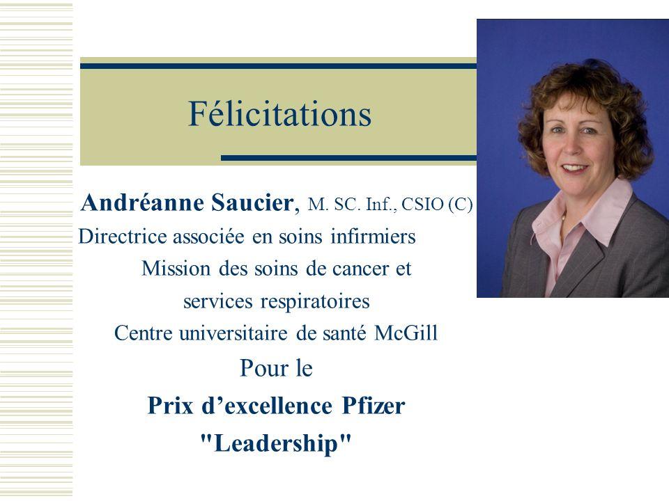 Félicitations Andréanne Saucier, M. SC. Inf., CSIO (C) Directrice associée en soins infirmiers Mission des soins de cancer et services respiratoires C