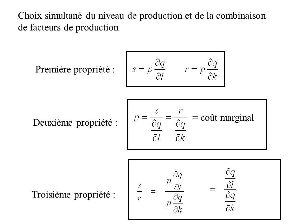Première propriété : Choix simultané du niveau de production et de la combinaison de facteurs de production Deuxième propriété : = coût marginal Trois