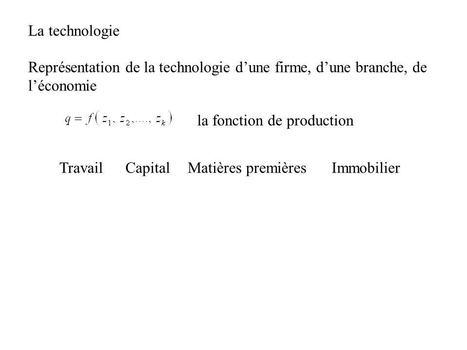 la fonction de production Représentation de la technologie dune firme, dune branche, de léconomie TravailCapitalMatières premièresImmobilier La techno
