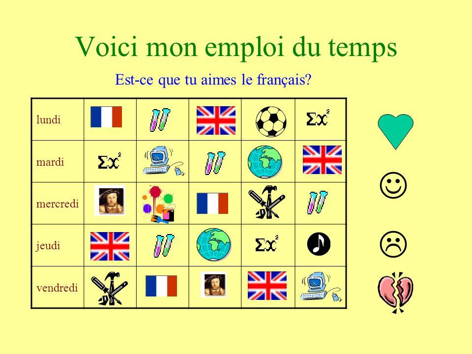 lundi mardi mercredi jeudi vendredi Voici mon emploi du temps Est-ce que tu aimes le français?