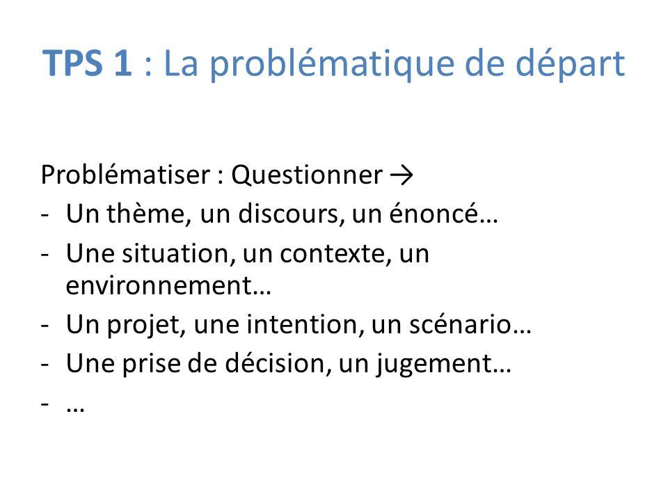 TPS 1 : La problématique de départ Problématiser : Questionner -Un thème, un discours, un énoncé… -Une situation, un contexte, un environnement… -Un projet, une intention, un scénario… -Une prise de décision, un jugement… -…