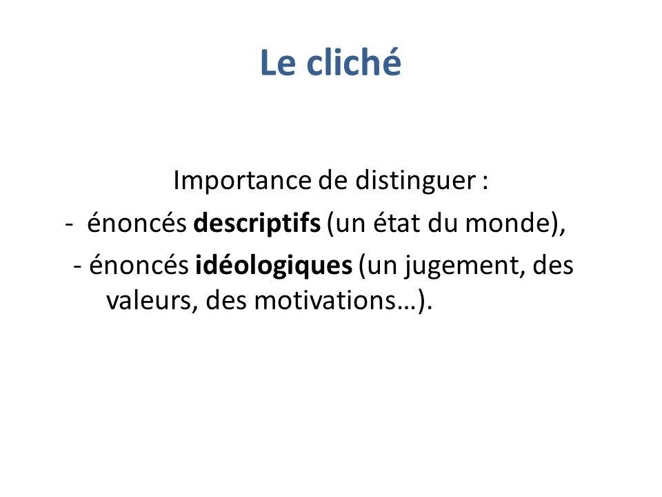 Le cliché Importance de distinguer : - énoncés descriptifs (un état du monde), - énoncés idéologiques (un jugement, des valeurs, des motivations…).