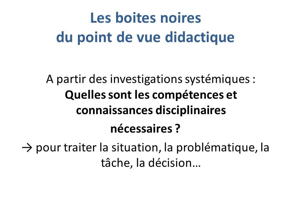 Les boites noires du point de vue didactique A partir des investigations systémiques : Quelles sont les compétences et connaissances disciplinaires nécessaires .