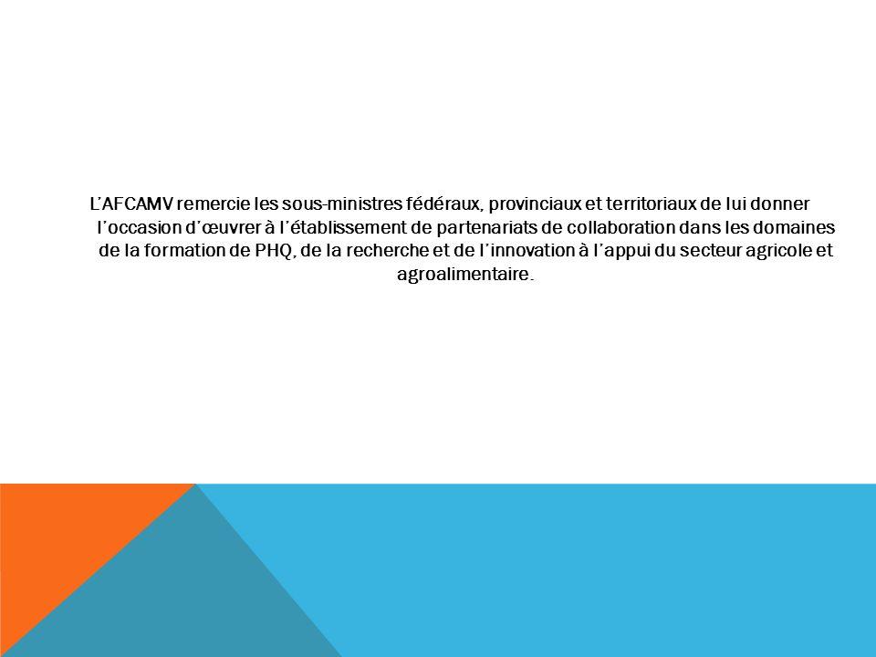 LAFCAMV remercie les sous-ministres fédéraux, provinciaux et territoriaux de lui donner loccasion dœuvrer à létablissement de partenariats de collabor