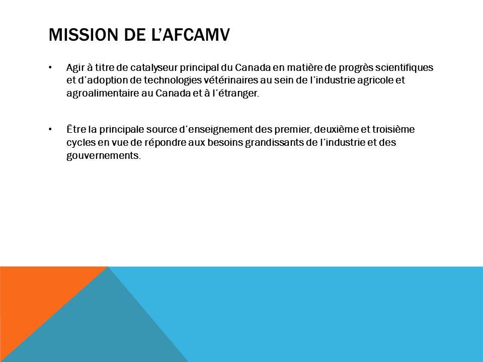MISSION DE LAFCAMV Agir à titre de catalyseur principal du Canada en matière de progrès scientifiques et dadoption de technologies vétérinaires au sein de lindustrie agricole et agroalimentaire au Canada et à létranger.