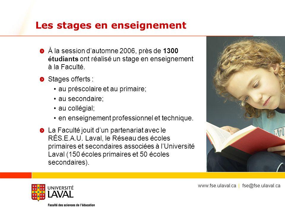 Les stages en enseignement À la session dautomne 2006, près de 1300 étudiants ont réalisé un stage en enseignement à la Faculté. Stages offerts : au p