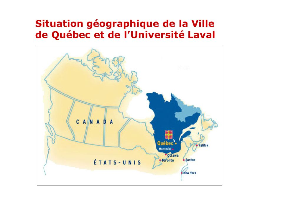 Situation géographique de la Ville de Québec et de lUniversité Laval