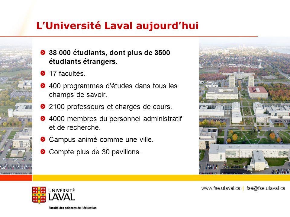 LUniversité Laval aujourdhui 38 000 étudiants, dont plus de 3500 étudiants étrangers. 17 facultés. 400 programmes détudes dans tous les champs de savo