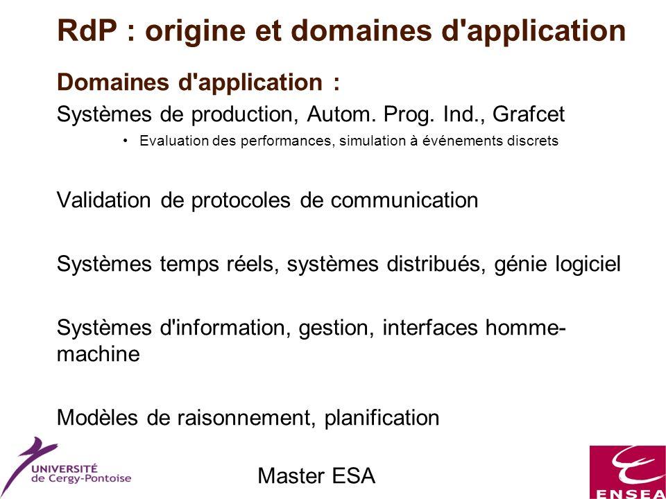 Master ESA Domaines d'application : Systèmes de production, Autom. Prog. Ind., Grafcet Evaluation des performances, simulation à événements discrets V