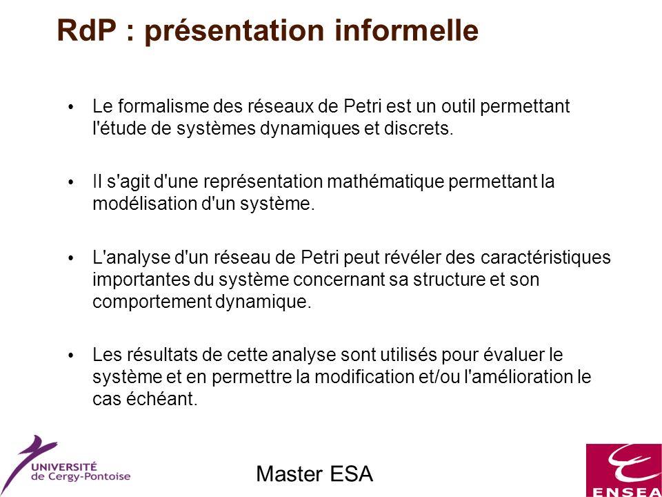Master ESA Le formalisme des réseaux de Petri est un outil permettant l'étude de systèmes dynamiques et discrets. Il s'agit d'une représentation mathé