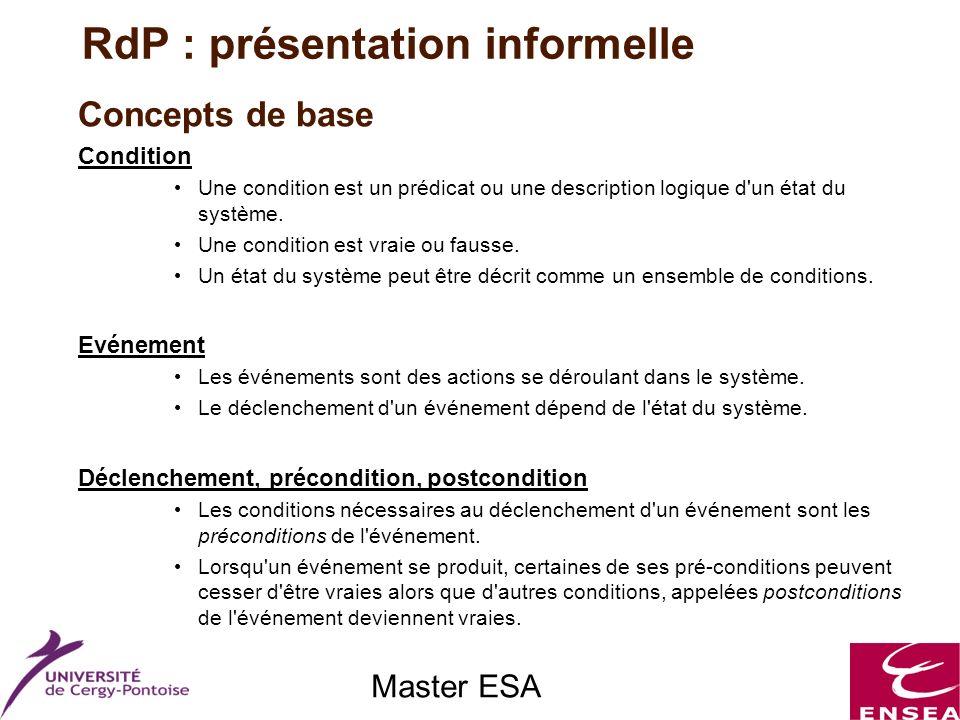 Master ESA Concepts de base Condition Une condition est un prédicat ou une description logique d'un état du système. Une condition est vraie ou fausse