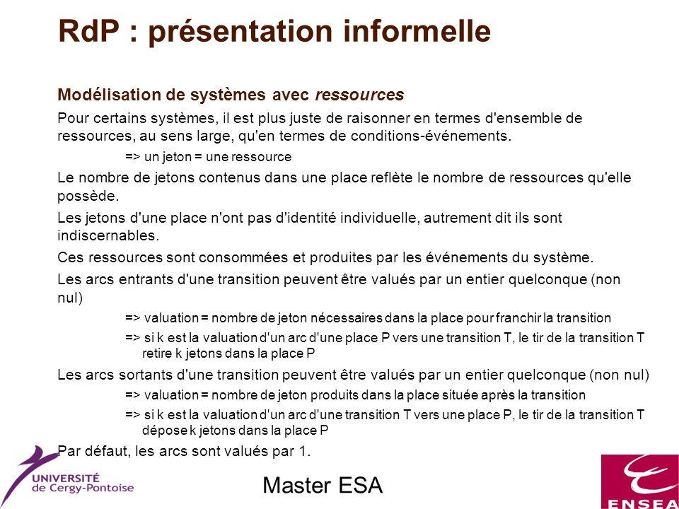 Master ESA Modélisation de systèmes avec ressources Pour certains systèmes, il est plus juste de raisonner en termes d'ensemble de ressources, au sens