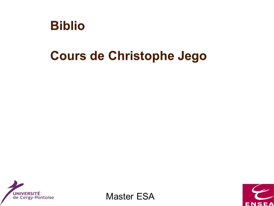 Master ESA Biblio Cours de Christophe Jego