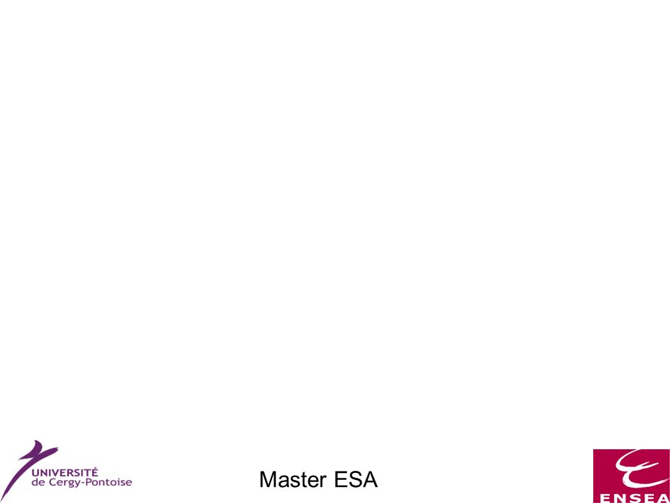 Master ESA Méthodologie de conception : Flot de conception Méthode globale Conception fonctionnelle Synthèse architecturale Spécification système Synthèse logique Placement Routage Vérification des spécifications Découpage en fonctions Simulation fonctionnelle Choix de lalgorithme Librairie de composants (tps/surf/cons) Estimation grossière Simulation fonctionnelle et structurelle Choix de composants et ordonnancement Process Circuit CONTRAINTES Précision des estimations Librairie de portes Estimation fine Simulation au niveau logique Paramètres connus (…) Estimation exacte Simulation électrique Tests (vecteurs de test)