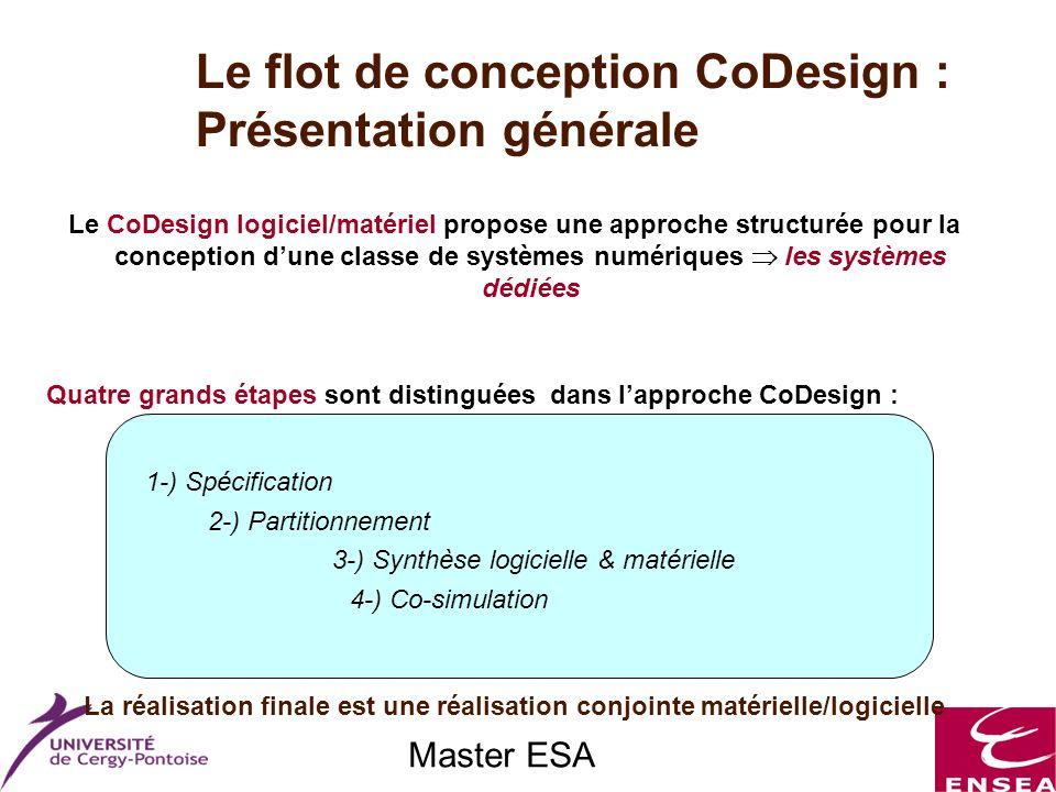 Master ESA Le CoDesign logiciel/matériel propose une approche structurée pour la conception dune classe de systèmes numériques les systèmes dédiées Qu