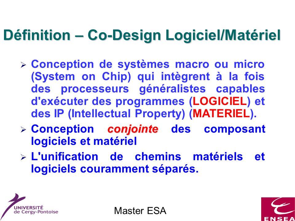 Master ESA Définition – Co-Design Logiciel/Matériel Conception de systèmes macro ou micro (System on Chip) qui intègrent à la fois des processeurs généralistes capables d exécuter des programmes (LOGICIEL) et des IP (Intellectual Property) (MATERIEL).