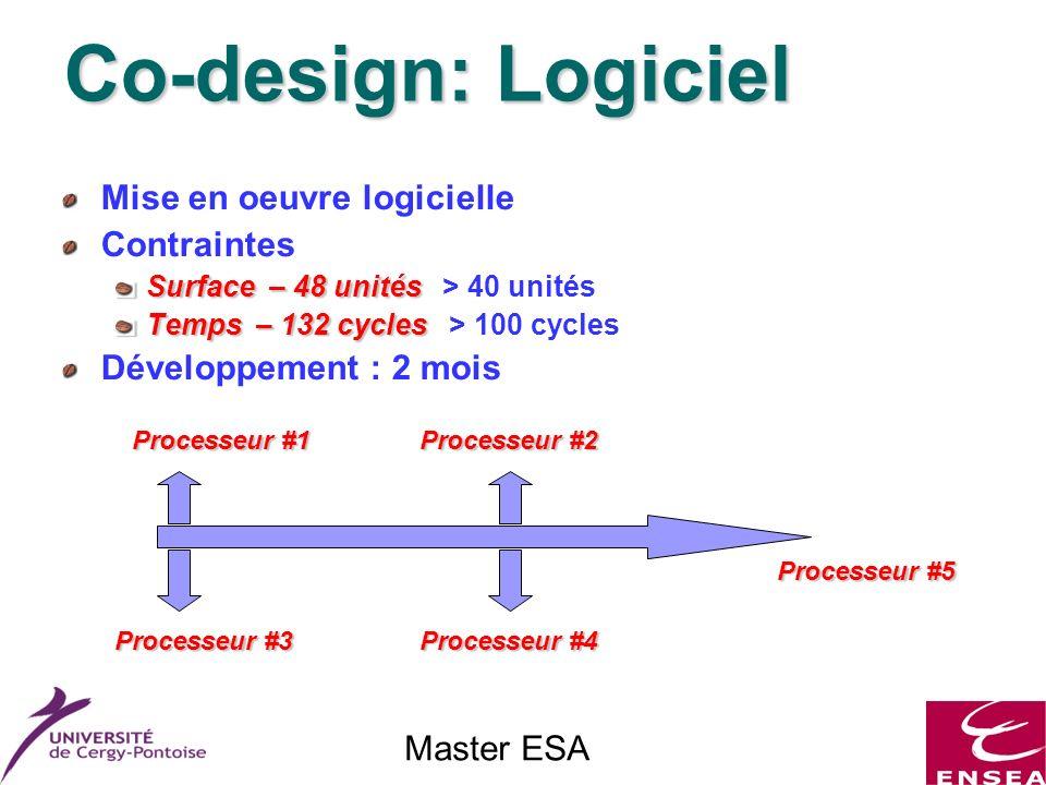 Master ESA Co-design: Logiciel Mise en oeuvre logicielle Contraintes Surface – 48 unités Surface – 48 unités > 40 unités Temps – 132 cycles Temps – 132 cycles > 100 cycles Développement : 2 mois Processeur #1 Processeur #2 Processeur #3 Processeur #4 Processeur #5