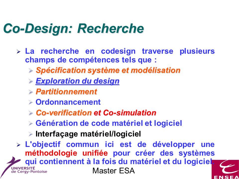 Master ESA Co-Design: Recherche La recherche en codesign traverse plusieurs champs de compétences tels que : Spécification système et modélisation Spé