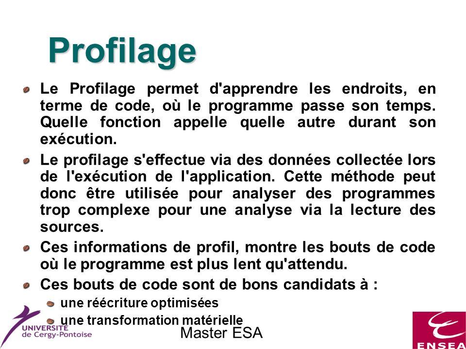 Master ESA Profilage Le Profilage permet d'apprendre les endroits, en terme de code, où le programme passe son temps. Quelle fonction appelle quelle a